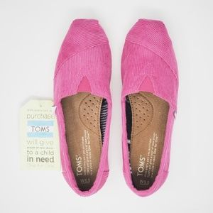 TOMS Classics Rose Cord Shoes Pink Size 5.5